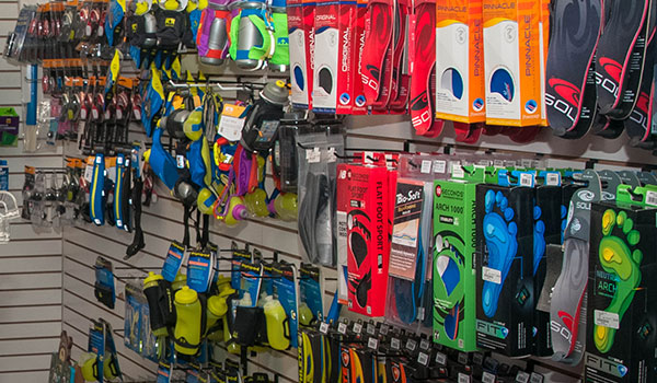 Pacers and Racers wall of insoles