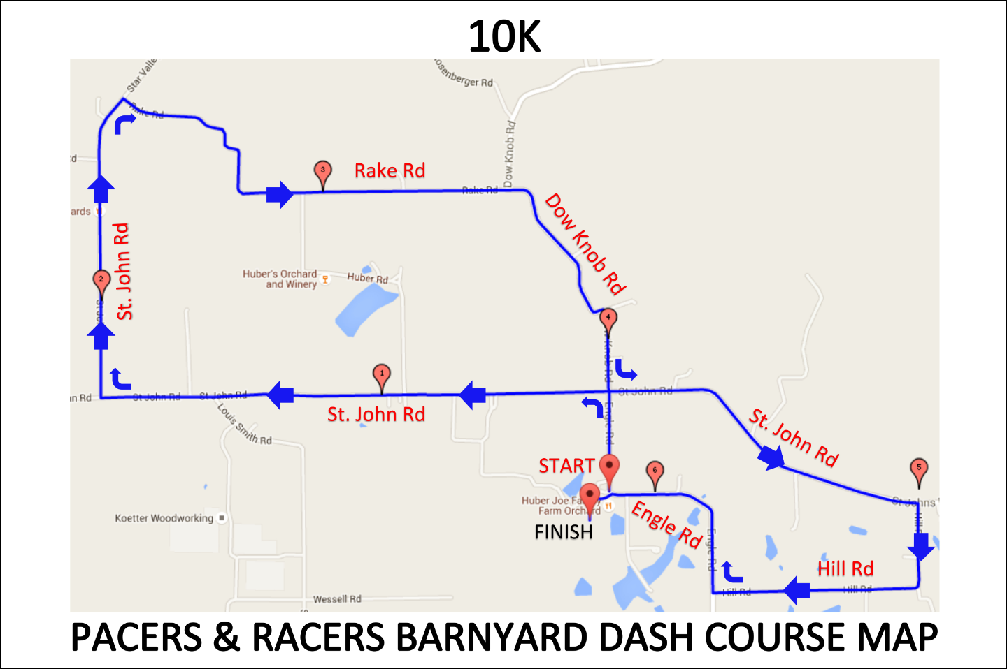 10K Barnyard Dash Course Map