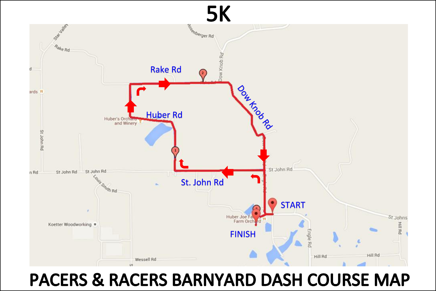 5K Barnyard Dash Course Map